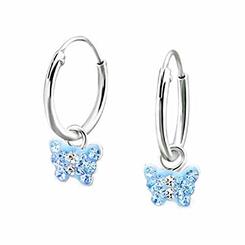 Five de D Pendientes de aro pendientes cristales pequeño Mariposa 925plata en caja de regalo