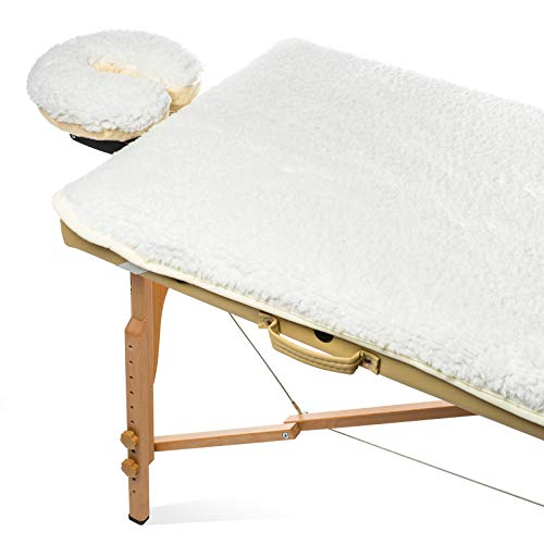 """Saloniture Fleece Massage Table Pad & Face Cradle Set - Soft and Comfortable 1/2"""" Thick Facial Bed and Headrest Cover - Natural"""