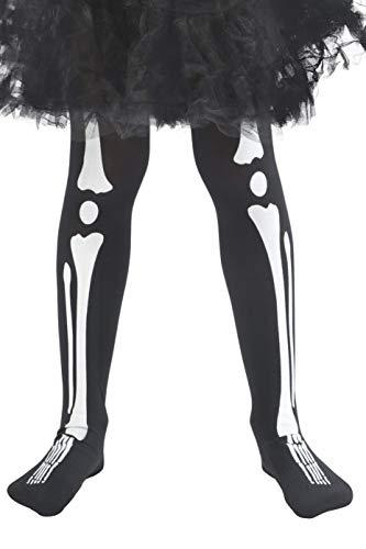 Smiffys 48158 - Kinder Unisex Skelett Strumpfhose, One Size, schwarz