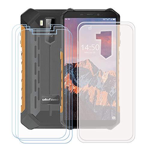 "YZKJSZ Funda para Ulefone Armor X9 Pro + 3 Piezas Protector de Pantalla Cristal Templado Film Película,Silicona Semi-Trasparente Carcasa TPU Suave Caso Case para Ulefone Armor X9 Pro (5.5"")"