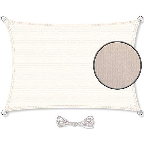 CelinaSun Sonnensegel inkl Befestigungsseile HDPE wetterbeständig atmungsaktiv Rechteck 3,5 x 4,5 m Creme weiß