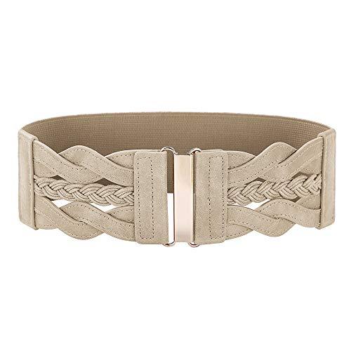Women's Elastic Vintage Belt Stretchy Retro Wide Waist Cinch Belt(Apricot,M)