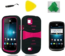 Black w Pink Hybrid Armor w Kickstand Phone Case Cover Cell Phone Accessory + EXTREME Band + Yellow Pry Tool + Stylus Pen + Screen Protector for AT&T Avail 2 / ZTE Avail 2 Z992