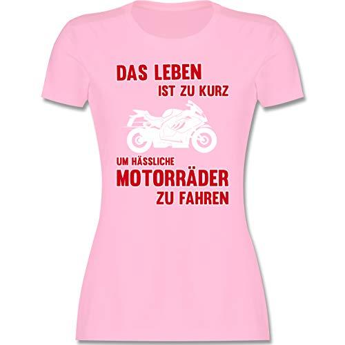 Motorräder - Das Leben ist zu kurz um hässliche Motorräder zu Fahren 3 - M - Rosa - der Leben ist kurz - L191 - Tailliertes Tshirt für Damen und Frauen T-Shirt