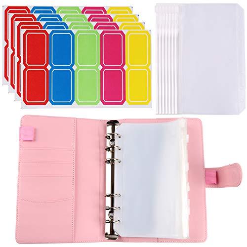Cuaderno de cuero A6 bolsas de plástico con 6 anillas, cubierta de cuero + 20 bolsas impermeables con cremallera + 40 pegatinas de etiquetas de plástico para carpetas escolares de oficina (ros