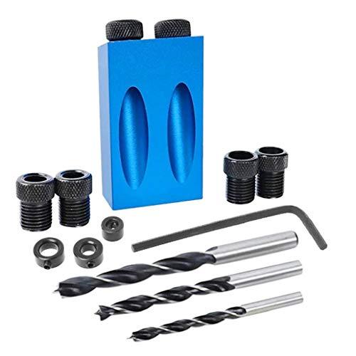 NaisiCore Bolsillo Agujero de calar 15 Grados para Tacos de carpintería Kit 6/8/10 mm de Adaptador de Disco para los Agujeros de perforación en ángulo de la Madera 14Pcs