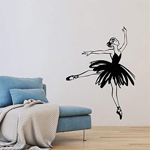 Calcomanía de pared de bailarina abstracta, pegatina de fondo para estudio de baile de Ballet, Mural, chica de Ballet, decoración del hogar, pegatina de pared creativa A3 57x42cm