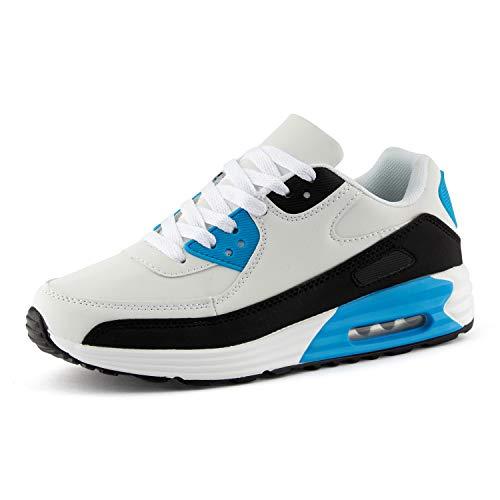 Fusskleidung Herren Damen Sportschuhe Dämpfung Neon Sneaker Laufschuhe Runners Gym Unisex Weiss Blau Schwarz EU 38