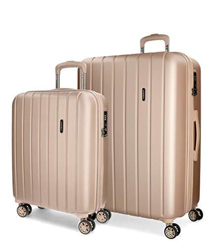 Movom Wood Koffer, Set mit 2 Koffern, Beige (Champagner), 65 cm