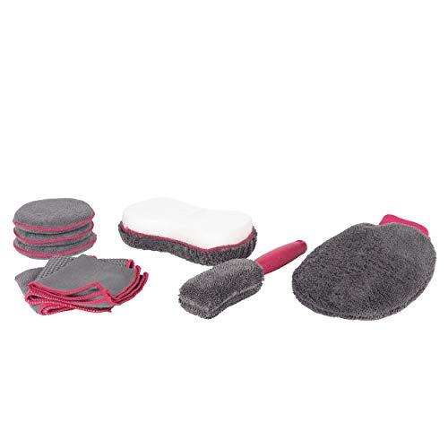 Kleeneze Juego Deluxe de 9 Piezas para Coches KL082350EU7 Exterior e Interior   Incluye Cepillo de Llantas, estropajos de Limpieza, manopla, Esponja y paños   Microfibra, Gris