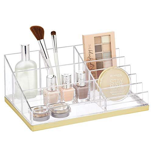 mDesign praktischer Kosmetik Organizer – dekorative Kosmetik Aufbewahrungsbox für Nagellack und Puder – Ablage mit 10 Fächern zur Schminkaufbewahrung – durchsichtig/goldfarben