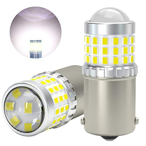 AGLINT 1156 LED Bombillas 57SMD P21W BA15S 1141 12V 24V Para RV Camper Luz Coche Luces Traseras Luz de Marcha Trás Señal de Giro Luz Diurnas Luces 6000K Blanco 2 Piezas (1156/P21W/BA15S)