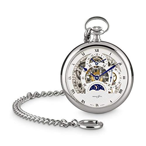 Hermann Jäckle Reloj de bolsillo Tuttlingen II, esqueleto, con cuerda manual, incluye cadena y caja.