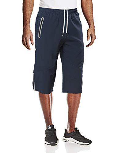 MAGCOMSEN Capri Shorts Men Quick Dry 3/4 Capri Pants Men Hiking Pants Knee Length Pants Football Shorts Gym Shorts Workout Pants Yoga Shorts Sweat Shorts Navy