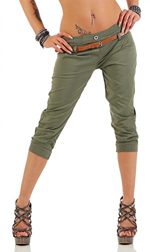 Danaest Damen Capri Hose inkl. Gürtel (624), Farbe:Khaki, Grösse:S / 36
