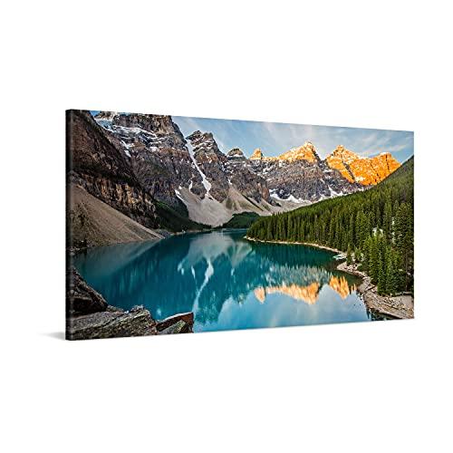 PICANOVA – Stampa su Tela Lago di Montagna Moraine 100x50cm – Quadro Moderno Incorniciato con Spessore di 2cm Altre...