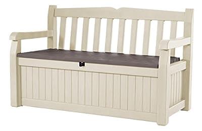 Keter Eden 70 Gal All Weather Outdoor Patio Storage Bench Deck Box, Beige/Brown