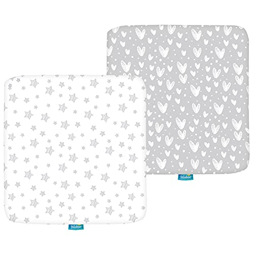 Square Playard/Playpen Fitted Sheets, Perfect for 36 X 36 Portable Playard, 2 Pack, 100% Jersey Knit Cotton Fitted Sheets, Grey Stripes and Hearts Print for Baby Boy and Baby Girl