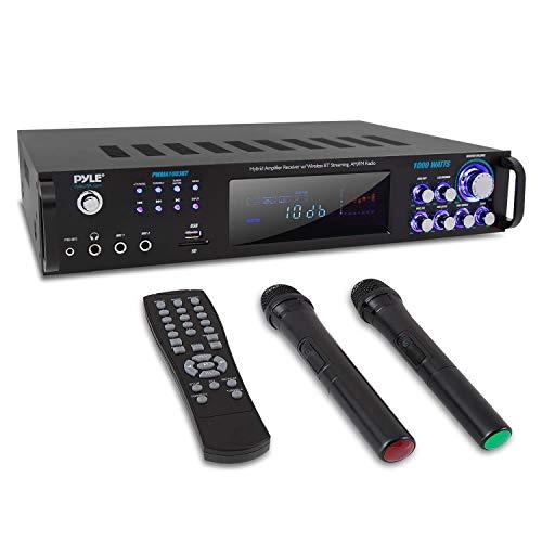 4 Channel Bluetooth Power Amplifier - 1000W Home Audio Rack Mount Stereo Receiver w/AM FM Radio, USB, Headphone, Dual Wireless Mic w/Echo for Karaoke, LED, for Speaker Sound System - Pyle PWMA1003BT