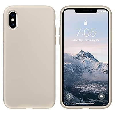OuXul Case for iPhone X/iPhone Xs Liquid Silicone Gel Rubber Phone Case,iPhone X/iPhone Xs 5.8 Inch Full Body Slim Soft Microfiber Lining Protective Case?Stone?