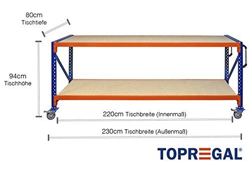 Lagerwagen rolwagen 2,3 m breed, 80 cm diep, tafelhoogte 94 cm verrijdbare werkbank