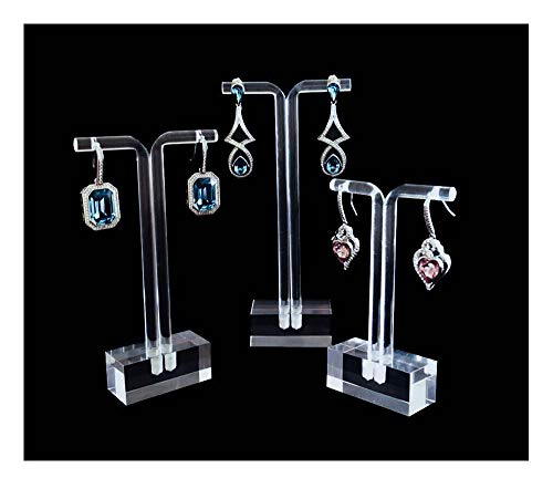 Jewelry Display Stands for Shows Modern Clear Acrylic Earring Holder Premium Grade Material Modern Concept High End Solution for Trade Shows Store Exhibit Photography Home Set of 3 PCs