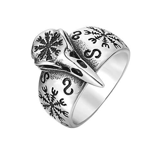 WTZWY Raben-Schädel-Ring mit Aegishjalmur Der Helm der Ehrfurcht Symbol 316L Edelstahl Norse Scandinavian Wikingerschmuck für Männer Frauen,Silber,7