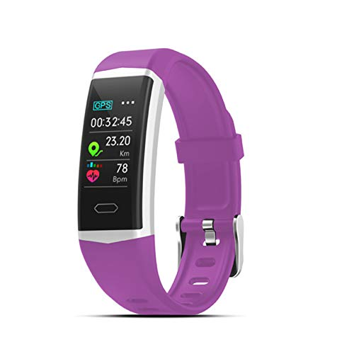 QY-Youth GPS Smart Pulsera Watch Wath Health Muts's Women's Pulseras Deportes Bluetooth 5.0 Pulsera de Fitness IP68 Smart Band,Púrpura