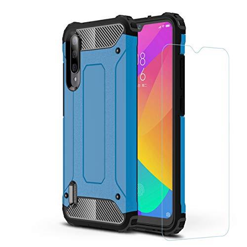 DESCHE Compatibles para Funda Xiaomi Mi A3 / CC9e, Outdoor Funda Resistente + Cristal Templado, Dura PC + Suave TPU 2-en-1 Doble Protección Armadura Protectora Antigolpes Duradera Carcasa -Azul