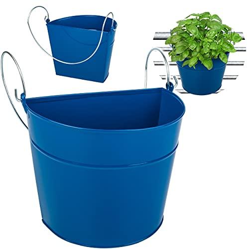 alles-meine.de GmbH Hänge - Topf / Blumentopf / Hängetopf _ Farbwahl _ Ø 22 cm - Metall - royal blau - HALB RUND - Hängend / mit Haken & Halterung - Aufhängen - groß - mit Henkel..