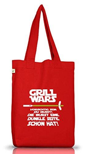 Grill Jutebeutel Stoffbeutel Earth Positive Grill Wars - Dunkle Seite, Größe: onesize,Red