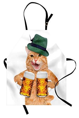 ABAKUHAUS Katze Kochschürze, Deutsche Kater mit Grüne Hut und Bierkrügen Bayerisches Getränk Lecker Foto Muster, Höhenverstellbar Klare Farben ohne verblassen, Beige Grün