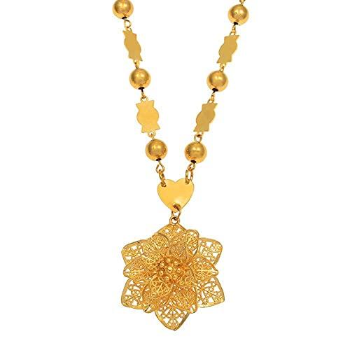 Collares con colgante de flores para mujer, color dorado, polinesia de Hawaii, joyería de micronesia joven, regalos de moda