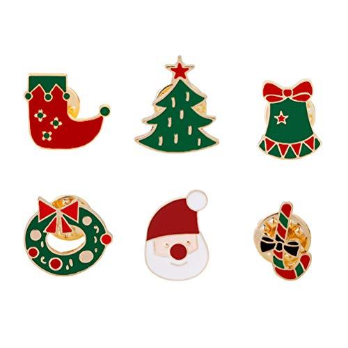 BESTOYARD Weihnachten Brosche Emaille Pins Weihnachtsbaum Glocken Stumpf Kranz Geschenk Form Abzeichen Weihnachten Deko 6 Stück