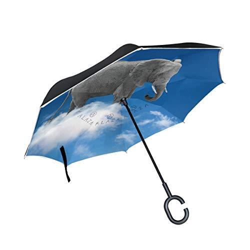 PINLLG Regenschirm mit Elefanten-Motiv, doppelschichtig, umgekehrter Regenschirm mit C-förmigem Griff, UV-Schutz, Winddicht, für Auto
