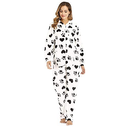 langchao Ladies Black and White Love Printed Fleece Pajamas Onesie Pajamas