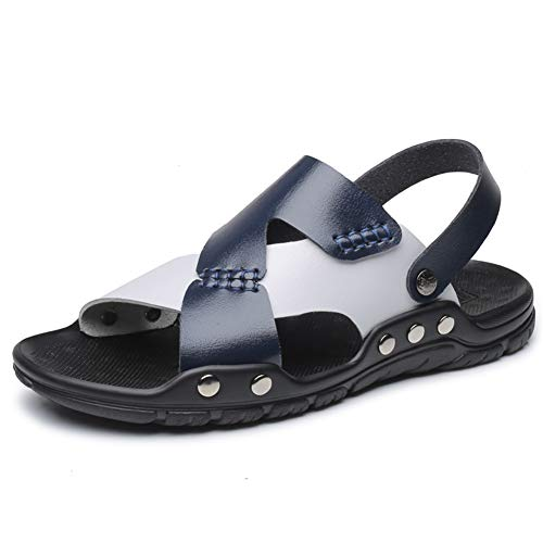 Männer Sandas Leder, Anti Slid Open Toe Dual Use Strand Schuhe Weiche Flache Abriebfeste Casual Sandale Hausschuhe für Outdoor-Entspannung