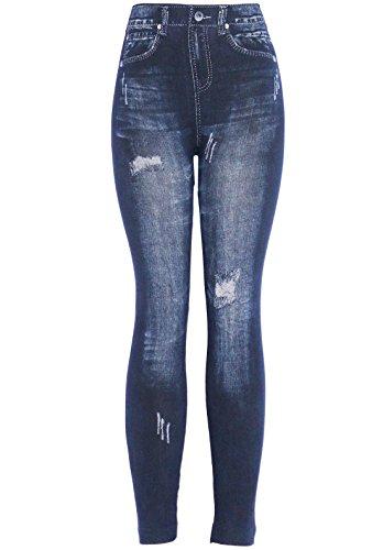 KMystic Women's Denim Print Fake Jeans Leggings (Blue Heart)