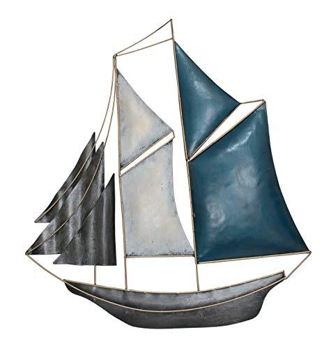 KLP Wanddeko Schiff Metall Segelboot Segel Boot Maritim Deko Hänger Figur Skulptur