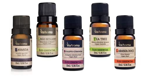 Kit Óleo Essêncial Completo Para Aromaterapia | Os 5 Aromas Mais Populares 100% Puros - Via Aroma