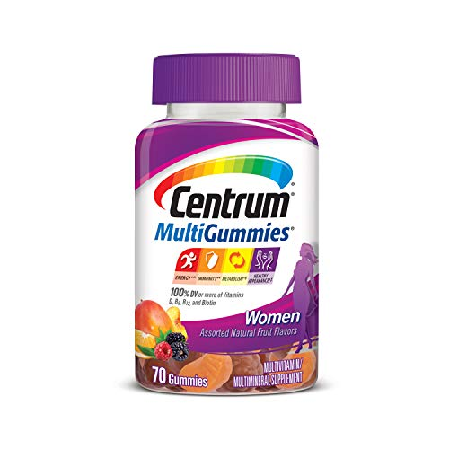 Centrum MultiGummies Gummy Multivitamin for Women, Multivitamin/Multimineral Supplement with Vitamin D3, B Vitamins and Antioxidants, Assorted Fruit Flavor - 70 Count
