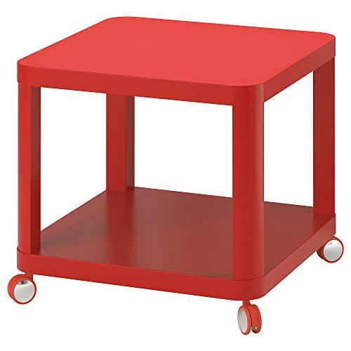 Mesa auxiliar IKEA TINGBY sobre ruedas 50x45x Ø50 cm rojo