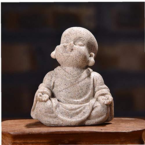 Miniatura Mini Monk Crafts Decoración del Hogar Buda Figurines De Coches Adornos Arenisca Poco Maitreya Regalo Mobiliario De Escritorio