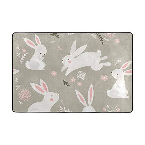 Orediy Weiche Teppiche Ostern Weiße Bunnies Leichter Bereich Teppich Kinder Spielmatte Rutschfeste Yoga-Teppich für Wohnzimmer Schlafzimmer, Polyester, multi, 122 x 183 CM