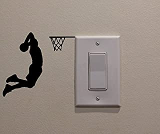 Basketball Player Dunking on Light Switch Decal Vinyl Wall Decal Sticker Art Living Room Carving Wall
