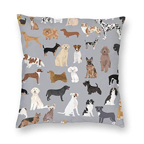 "Seonyer Mixed Dog Lots of Dogs Decorative Throw Pillow Cushion Cover Pillow Case Square Pillowcase Without Inserts for Bed 20""x20"""
