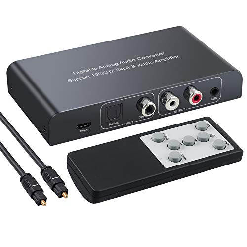 PROZOR DAC Konverter mit Fernbedienung 192kHz Digital zu Analog Audio Konverter Stereo L/R RCA 3.5mm Audio Adapter Unterstützt Lautstärkeregler/Mute/Power ON oder Off