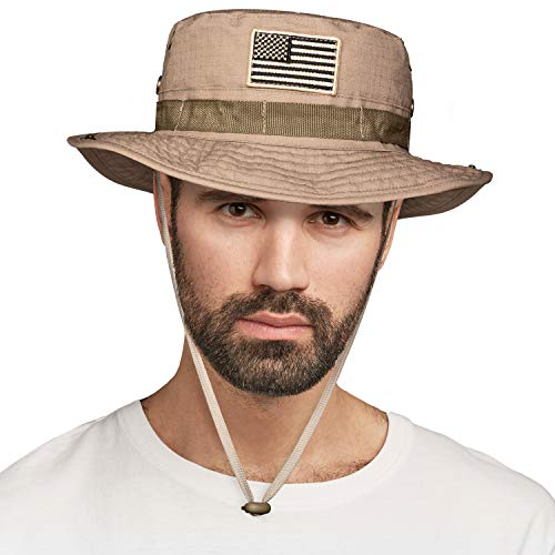 High Stream Gear Wide Brim Outdoor Boonie Hat for Fishing, Hiking, Hunting, Safari Trips (Khaki with US Flag)