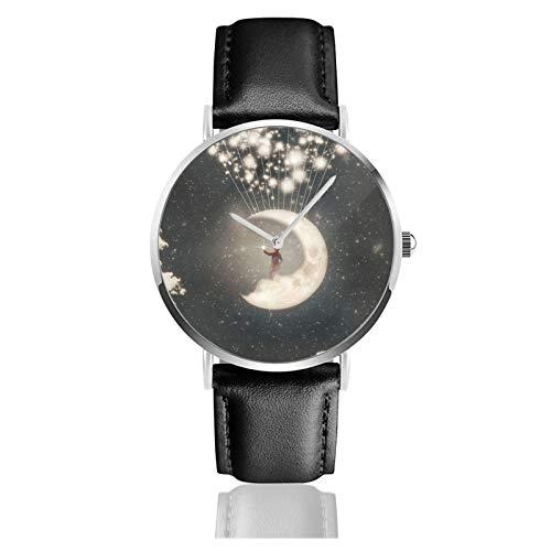 Reloj de cuero The Big Journey of The Man On The Moon Unisex Classic Casual Fashion Reloj de cuarzo de acero inoxidable con correa de cuero