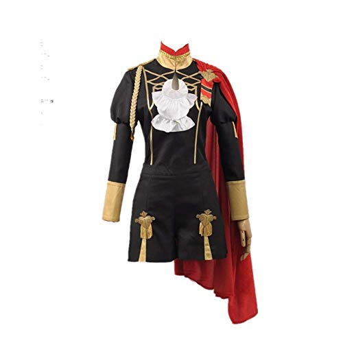 Qfeng Anime Fire Emblem Claude Costume Cosplay Costume Halloween Abete Cappotto per Donne Uomini Set Completo Nero S